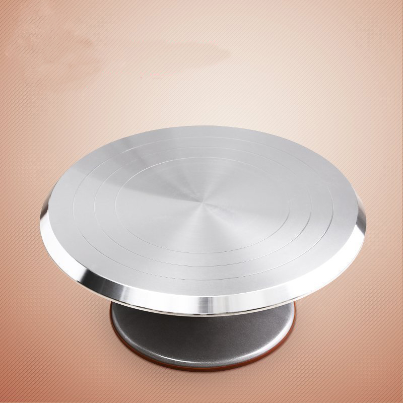 12 Inch Cake Mounting Pattern Tool Aluminum Alloy Cakes Decoration Turntable Manually Rotating Round Shaped Cake Stand