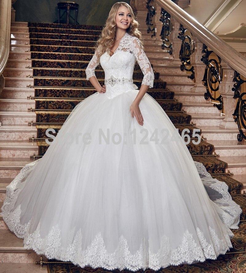 2016 nuevo diseño victoriano vestidos de novia v cuello barrer de