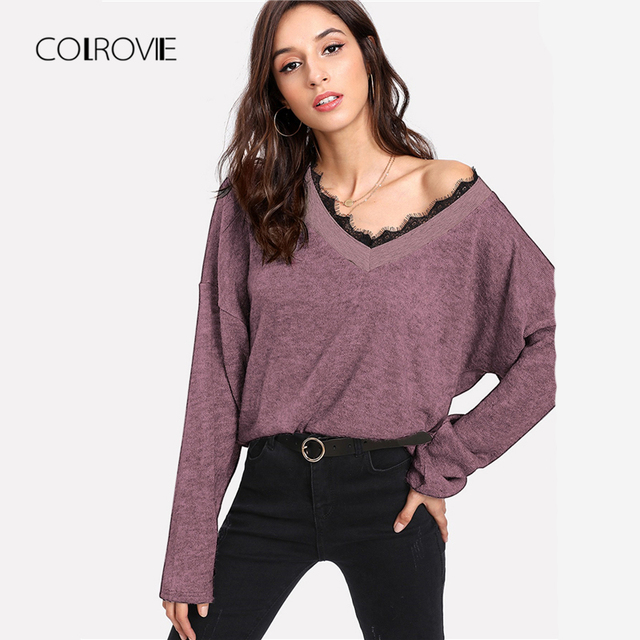 3519f69690a3 COLROVIE Purple V-Neck Winter Knitted Lace Trim Sweater Women Pullover 2018  Autumn Loose Basic Jumper Office Female Sweaters