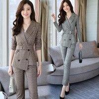 Fashion ladies professional business is loaded waist suit suits plaid pants two pieces / 1 set