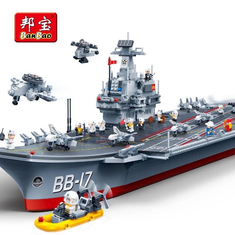 BanBao porte-avions armée militaire blocs de construction compatibles avec Legoe briques éducatives garçon enfants enfants jouet modèle 8421