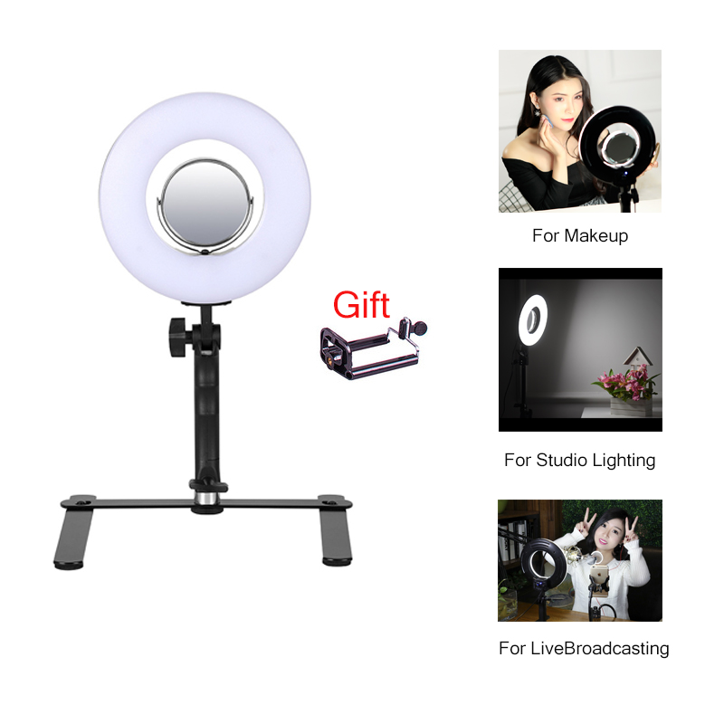Mini table LED Ring Light 8 24W Stepless adjustable 5500K Photo/Video for Home Media Fil ...
