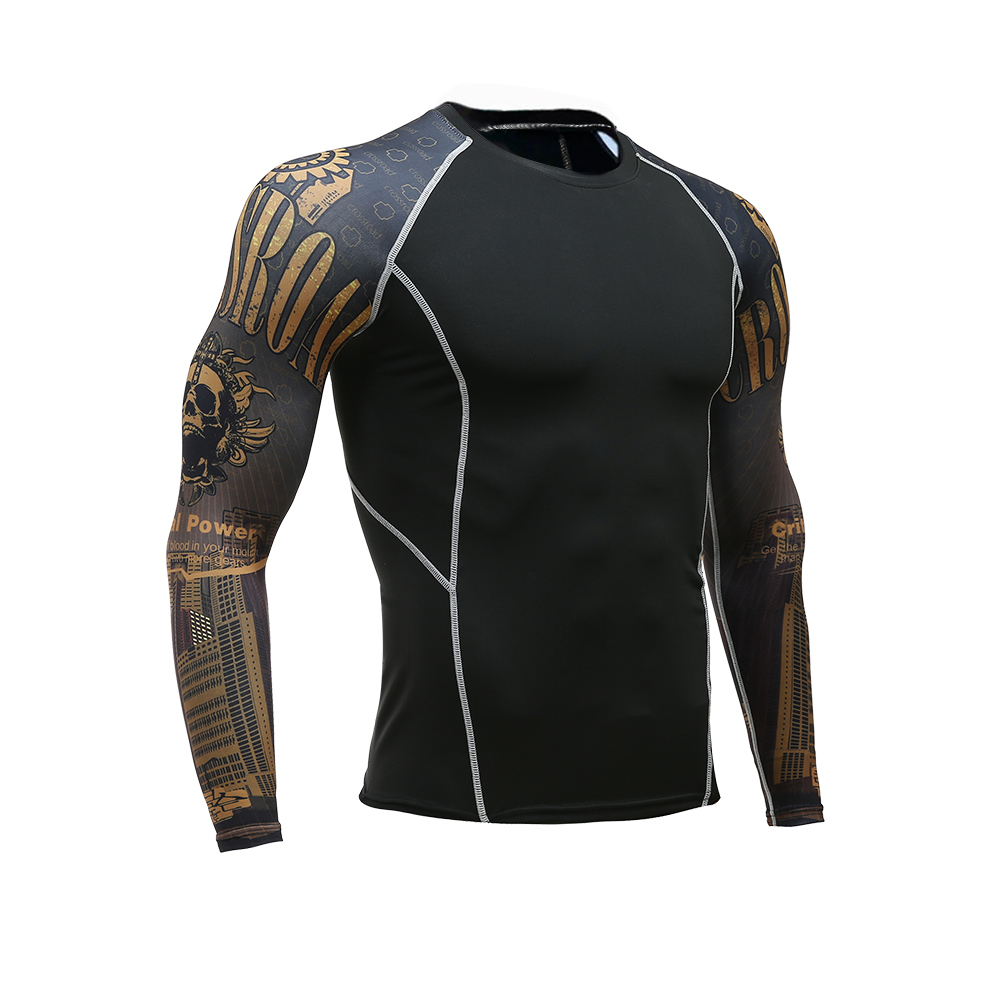 fcf9af2a95 Mens Fitness Long Sleeves Rashguard T Shirt Men Bodybuilding Skin Tight  Thermal Compression Shirts MMA Crossfit Workout Top Gear-in T-Shirts from  Men's ...