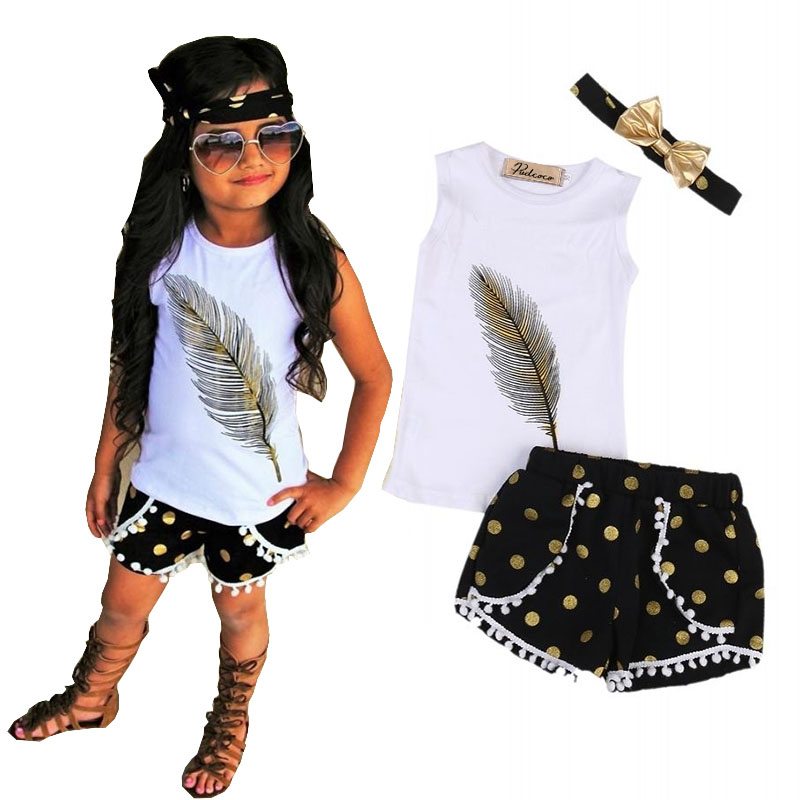 3 Pcs Little Girls Summer Feather Clothing Set Kids Girl Outfits Sleeveless Vest Tops+Tassels Shorts Bottom+Headband Clothes