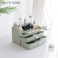 JULY'S SONG Plastic Cosmetic Organizer Storage Box Makeup Drawer Container Jewelry Box Casket Holder Desktop Sundries Container