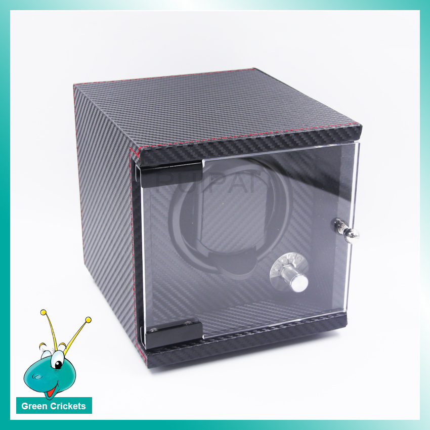 1+0 Watch Box Automatic Watch Winder,Carbon fiber Leather Acrylic Cover 5 Modes Wooden automatic Watch Winder цена