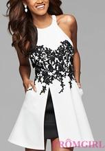 2016 Hot Black And White Sleeveelss Knee Length Cocktail Dress Short Formal Dress Front Split Cheap Women Summer Dress