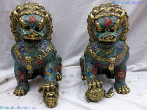 China handmade bronze gild blue Cloisonne Foo Dogs Lions pair sculpture Statue