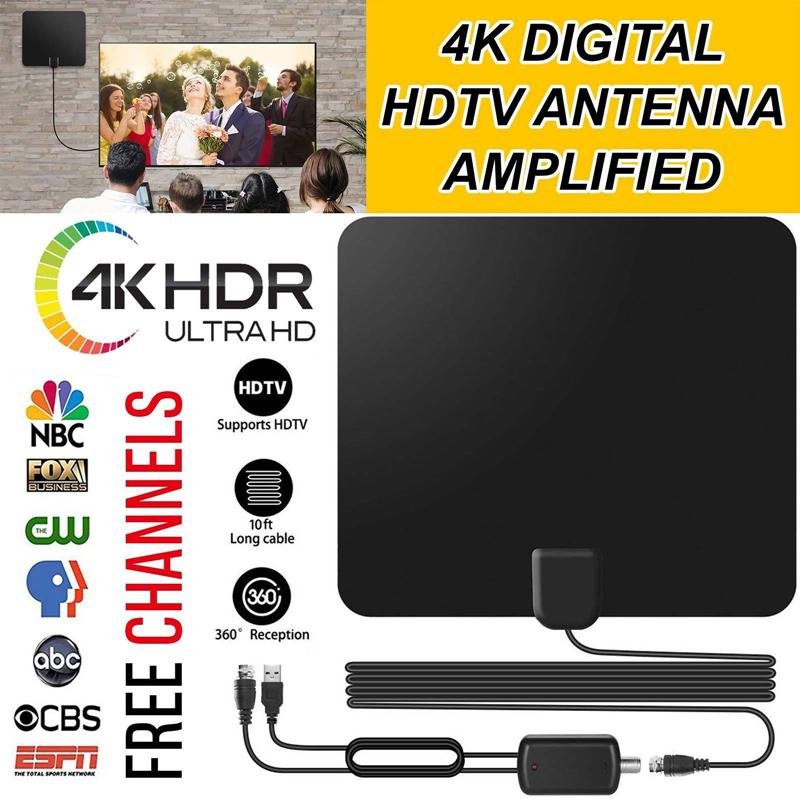 US $4 7 26% OFF|LumiParty 80 Mile Range Indoor TV Antenna Digital HDTV  Antenna Amplified 4K HD VHF UHF Freeview for Life Local Channels-in TV  Antenna