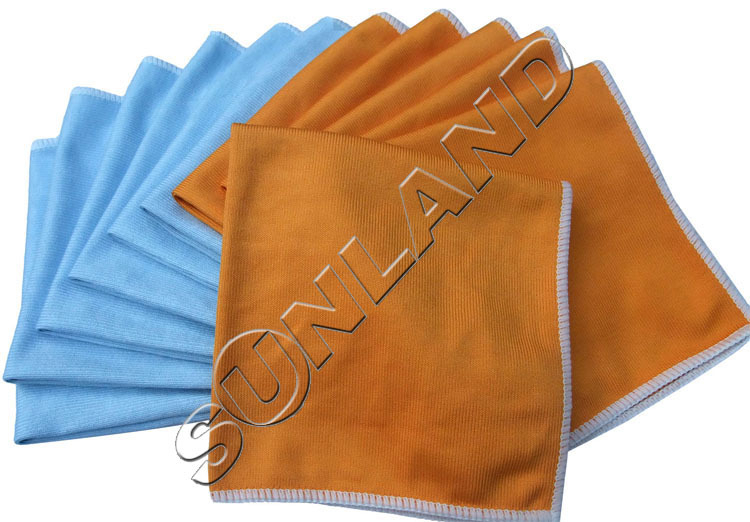 Sinland 12pcs 12x12 microfiber glass glass towel for Glass cleaning towels