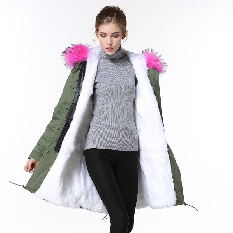 Winter Army Green long Fur jacket women Big Raccoon Pink fur collar Parka