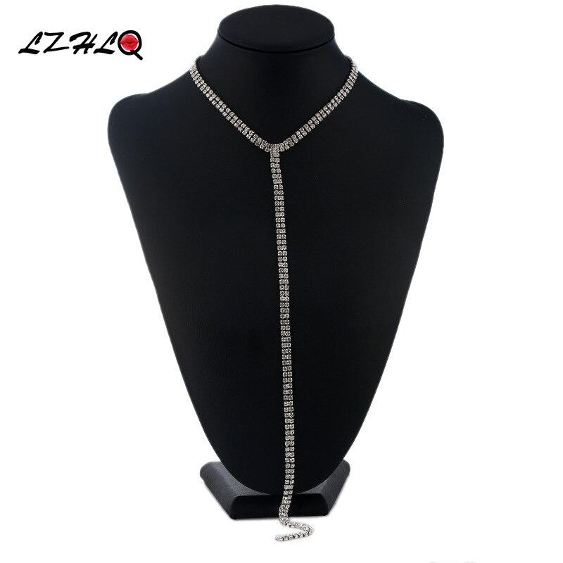LZHLQ Long Gland Simple Cristal Strass Collier Ras Du Cou Femmes Gem Déclaration De Luxe Bijoux Colliers Tour de Cou Boho Collier
