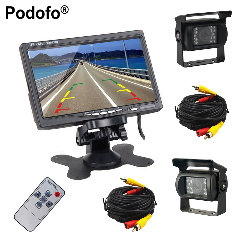 Podofo Dual Backup Camera and Monitor Kit For Bus Truck RV, LED Night Vision Rearview Reverse Camera + 7 LCD Rear View Monitor engineering excavator vehicles bulldozer model building blocks compatible legoed city construction enlighten bricks children toy