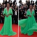 Gorgeous Sexy verde vestido de noche viste Festival de cine de Cannes Red Carpet Celebrity Dress con mantón vestido festa