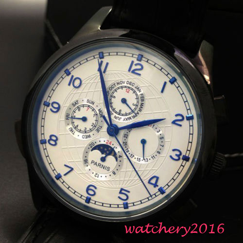 44mm parnis White Dial pvd coated Black Leather strap Date Window Moon Phase Blue Marks Automatic Movement Men's Watches