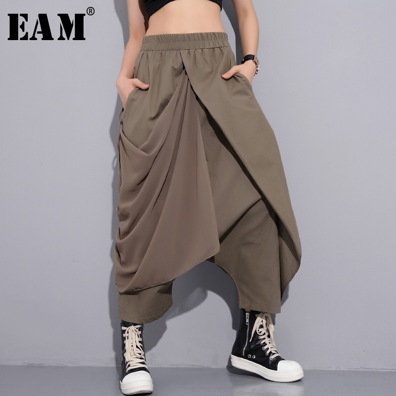 [EAM] 2019 New Spring High Elastic Waist Black Fold Bandage Stitch Loose Long Cross-pants Women Trousers Fashion  JF897