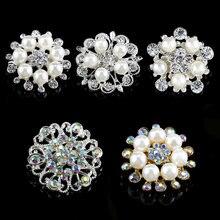 QIAO Glass Rhinestone Button With Pearl For Hair Flower Wedding  Embellishment Wedding bouquet DIY(China 004647735663