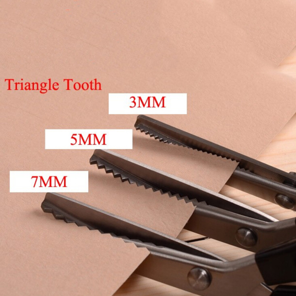 1PC Triangle Circle Arc Teeth Scissors Pro Zig Zag Pinking Shear Sewing Stainless Cut Dressmaking Tailor Office School Supplies