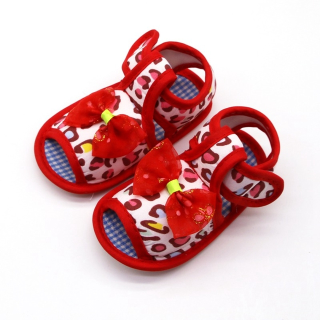 2019 Infant toddler sandals solid color bow cotton shoes leopard print sandals baby toddler shoes for 0-18M