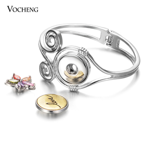 Image 2 - 10pcs/lot New Vocheng Gingersnaps Bracelet Alloy Bangle fit 18mm Snap Charms Diy Jewelry Female Gift Wholesale NN 743*10