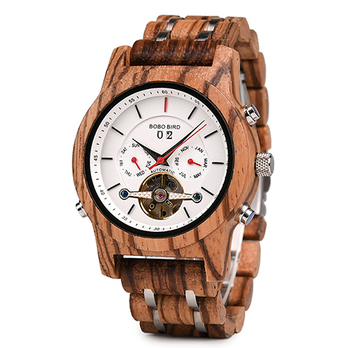 BOBO BIRD Men Watch Mechanical Wristwatches Date Display Luxury Black Wooden Watches relogio masculino-Wood Watch Boxes C-Q27 | Fotoflaco.net