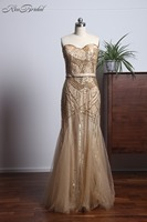 New Eleagnt Gold Evening Dresses Long Sweetheart Neckline Beaded Tulle Mermaid Prom Party Gown Vestidos Para