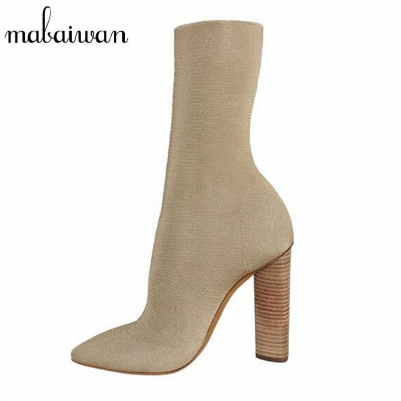 Mabaiwan Stretch Fabric Short Booties Chunky High Heel Shoes Woman Pointed Toe Ankle Boots Knit Sock Rubber Boot Women Pumps fashion kardashian ankle elastic sock boots chunky high heels stretch women autumn sexy booties pointed toe women pumps botas