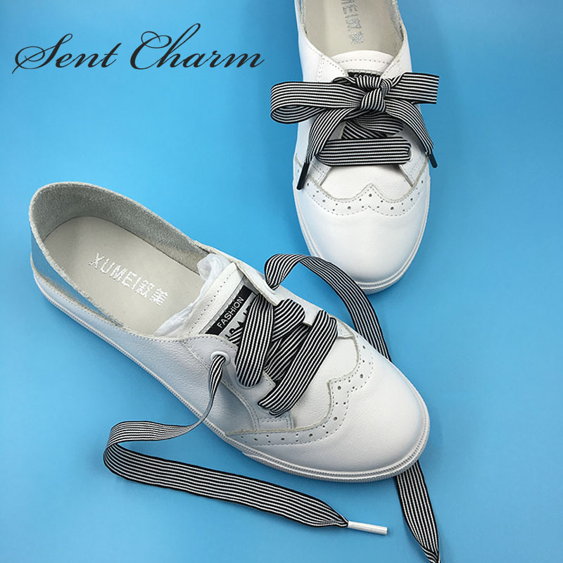 SENTCHARM New Arrival Striped Ribbon Shoelaces With Black Or White Metal Aglets Flat Latchet For Casual Shoes микроволновая печь rolsen mg2380sd