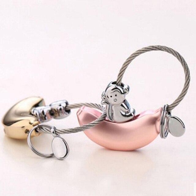 TIOODRE מתכת חמוד קוף בננה זוג רכב keychain עבור מפתחות רכב מפתח שרשרת אהבת מפתח טבעת מאהב של מתנת יום הולדת מתנה