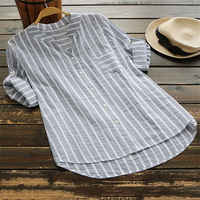 New Womens Summer Striped V Neck Blouses Loose Baggy Tops Cotton and Linen Button Down Tunic Shirts Plus Size