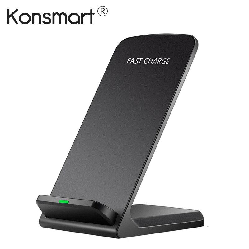 Konsmart cargador inalámbrico Qi para el iPhone X 8 más 7,5 W/10 W carga rápida energía inalámbrica soporte para samsung S7 S8 S9 Note5 Note8