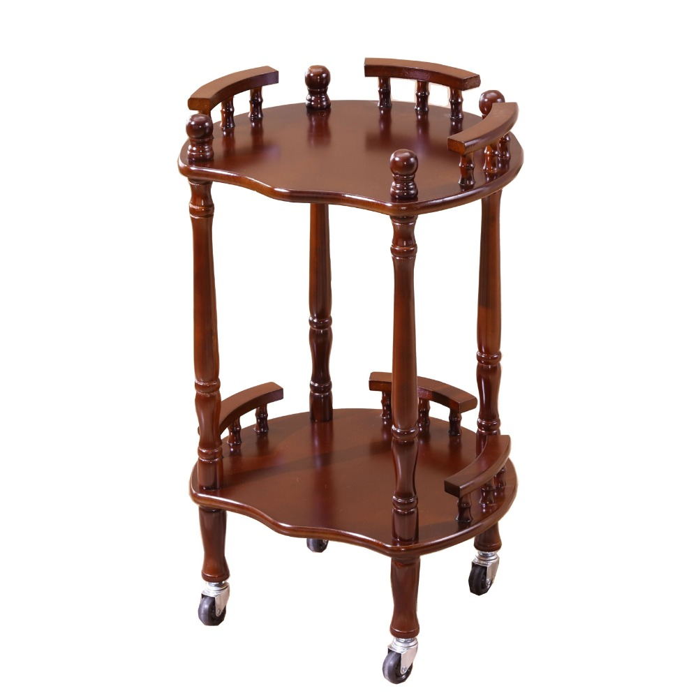 Wood Tea Table Wheeled brake Round square small coffee table sofa side table edge corner simple