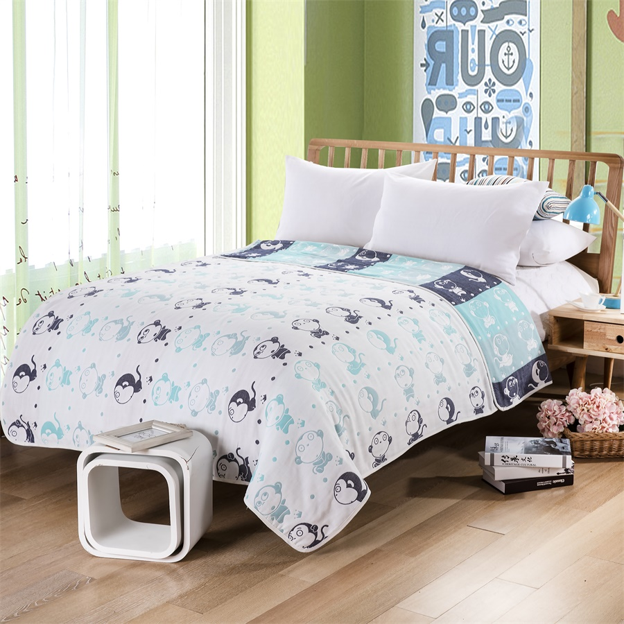 2016 Fruit Crown Monkey Pattern Soft Blanket Factory Direct Fabric 100% Cotton Five-Layer Gauze Summer Air Conditioning Blanket