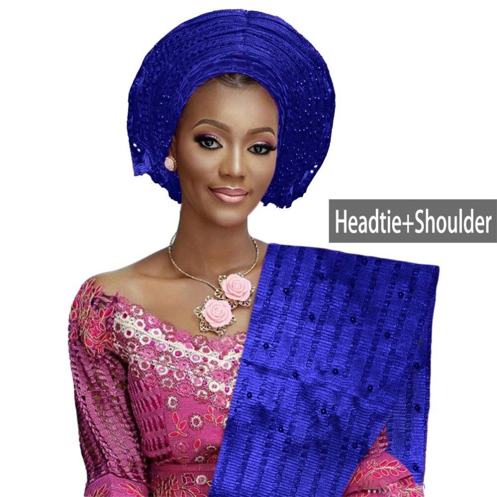 African aso oke gele headtie beaded headwrap Nigerian&African Wedding Party auto gele (2)