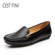 CESTFINI Marca Mujeres de Los Planos de Cuero de LA PU Zapatos Casuales Señoras Del Resorte Zapatos Cómodos Suaves Zapatos de Las Mujeres # F008