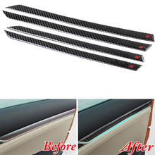 Carbon Fiber Style Car Interior Door Panel Stripe Cover Trim Decal For 2016 2017 Honda Civic 10th Car Interior Mouldings carbon fiber decal car center control panel trim decoration cover sticker for vw touareg 2011 17 interior mouldings accessories