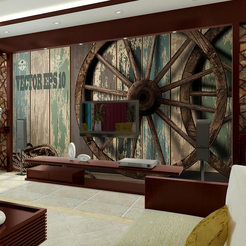 Home Bar Decor Wall Papers Vintage Wooden Wheel Photo Wall Paper