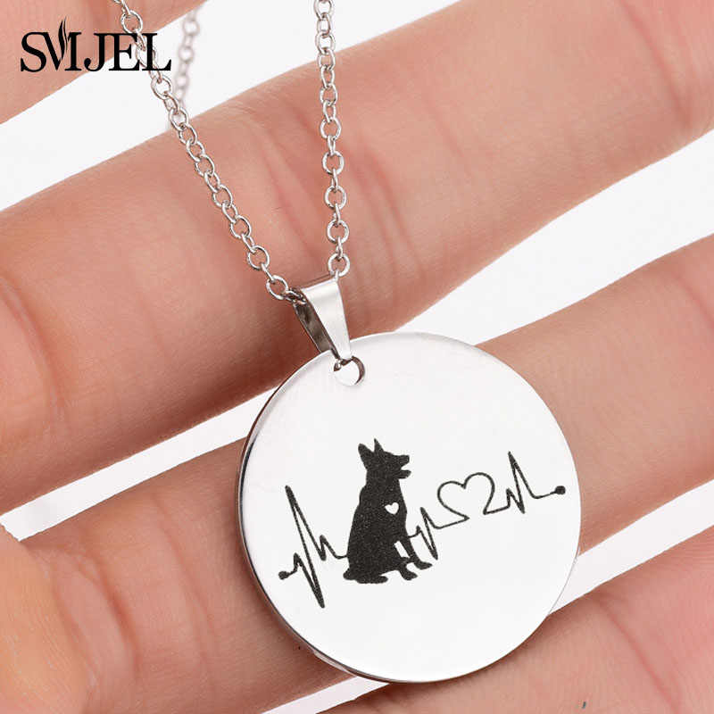 SMJEL Stainless Steel German Shepherd Necklaces Dog Mickey Pendant Necklace Choker Animal Jewelry Women Kids Jewelry Gifts