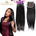 El rey de fábrica pelo con cierre y paquetes de malasia cabello liso 4 bundles con 8a sin procesar lace closure pelo de la virgen