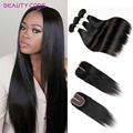 8A Brazilian Hair Weave Bundles With Closure 3 Bundles With Closure Straight Virgin Hair With Closure 4x4 Straight Human Hair