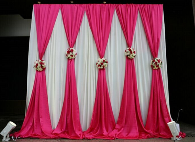 3*3m or 3*6m Stage decoration wedding party Sign everywhere ice silk fabric drapery Color stage prop Drape curtain Backdrop