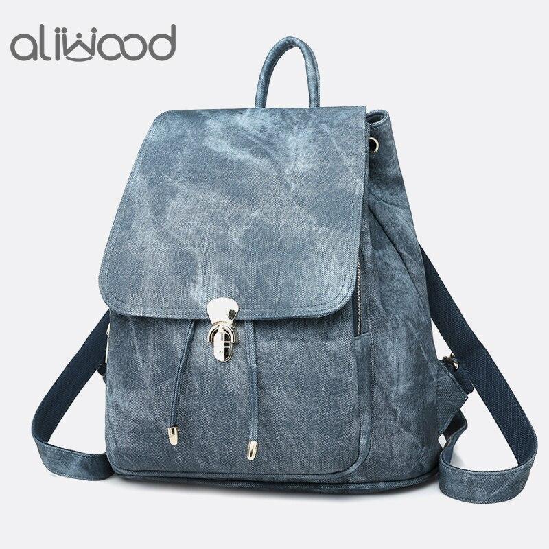5e411e95730c Aliwood брендовые кожаные рюкзаки для женщин модные женские рюкзаки для  девочек-подростков 2 комплекта школьные