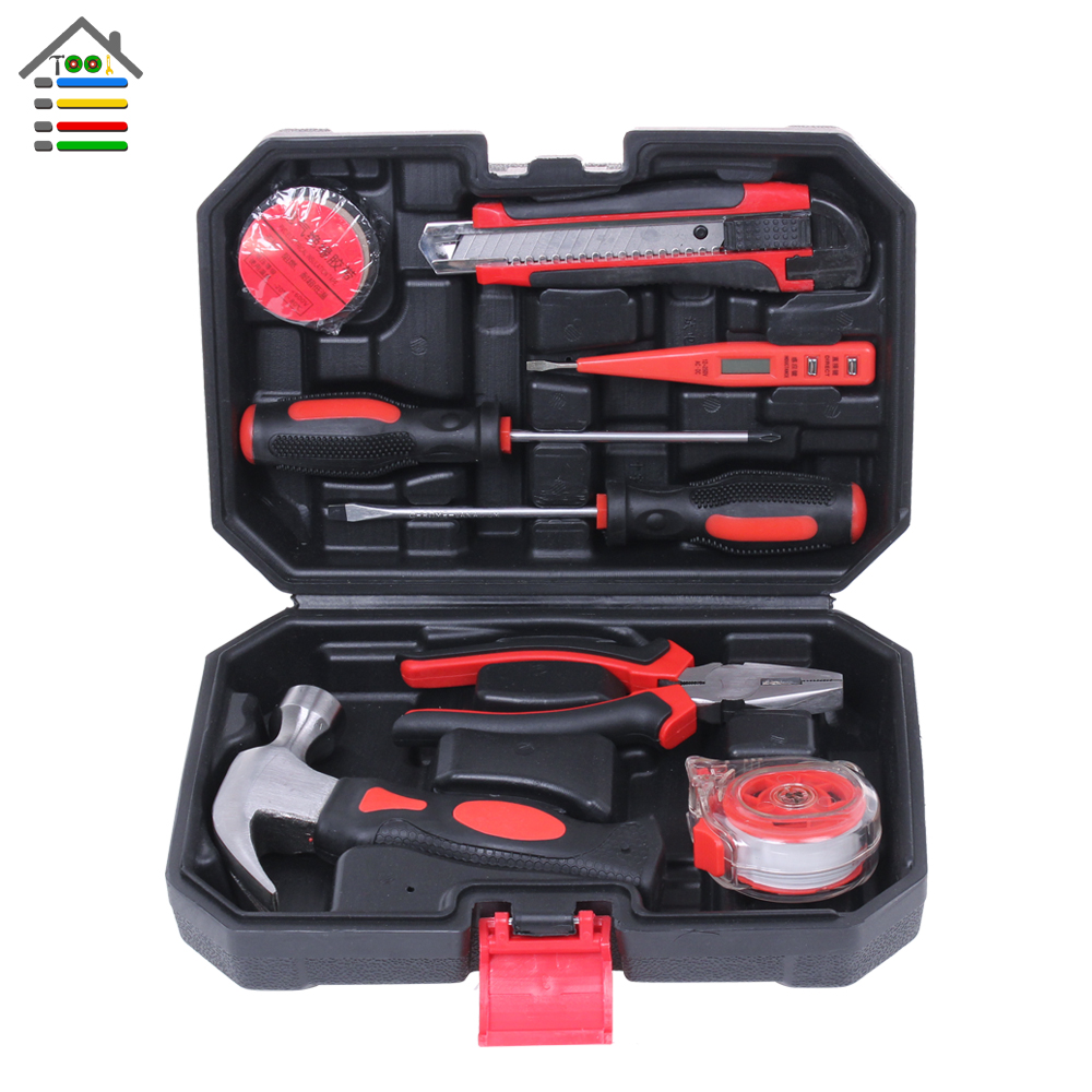 9 in 1 Hand Tool Set Kit Screwdriver Bit Multi Tool Box Plier Hammer Utility knife Tape Ruler PH2 Torx Screw Driver Home Tools multifunction household composition tool tape measure pliers utility knife family tool kit