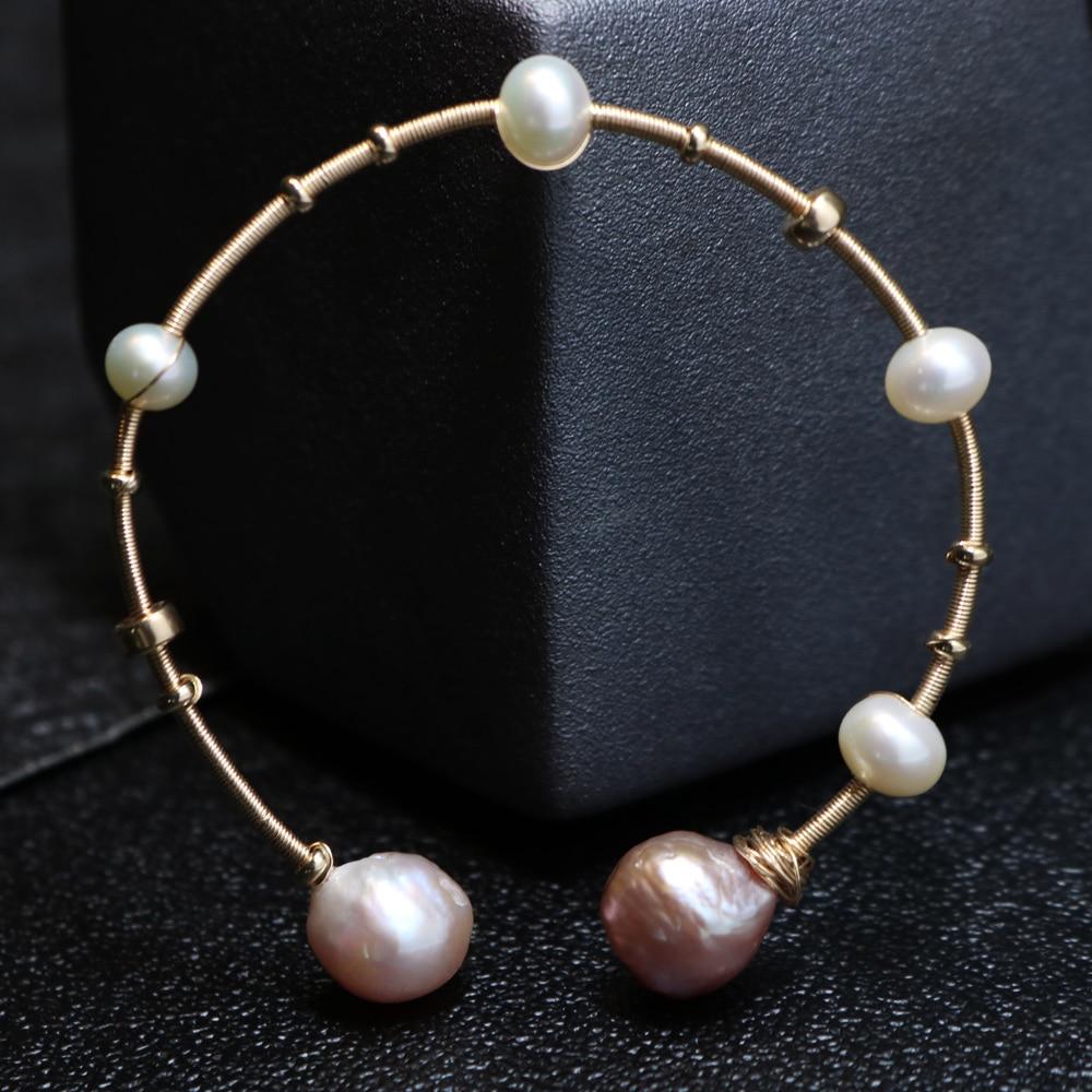 Nobuer 14K Gold Real Pearl ձեռնաշղթաներ `7-8 մմ - Նուրբ զարդեր - Լուսանկար 4