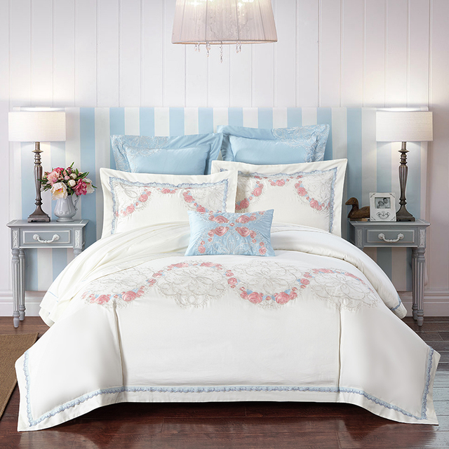 White Flowers Embroidery Egyptian Cotton Bedding Set S Bed Linen Home Textile Bedclothes Duvet Cover Bedspread