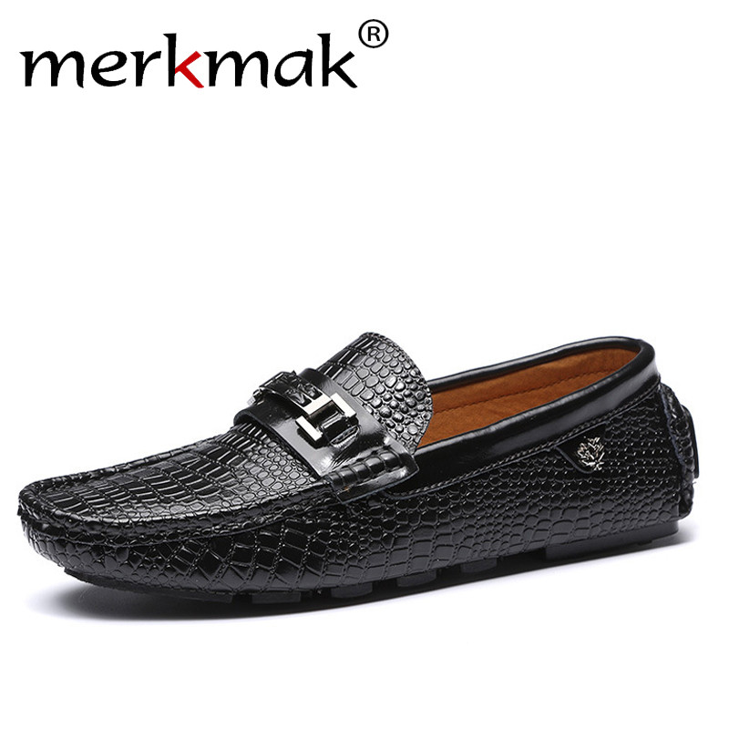 где купить 2018 Luxury Brand Men's Flats Casual Men Loafers Genuine Leather Slip On Soft Moccasins Mens Shoes Top Quality Driving Shoes по лучшей цене