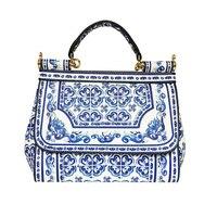 2018 Famous Branded Designer Handbag leather Miss Sicily' Floral Majolica Tile Print Satchel Bag Blue Shoulder bag