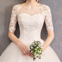 LYG-H15#It's Ivory white wedding dress lace up Floor-Length Bride's marriage dresses Ball Gown cheap wholesale 4