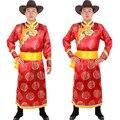Macho Vermelho Mongol Robe ruhat vestuário vestuário minoria Chinesa roupas Mongólia mongolische gewand mongolo dell abbigliamento
