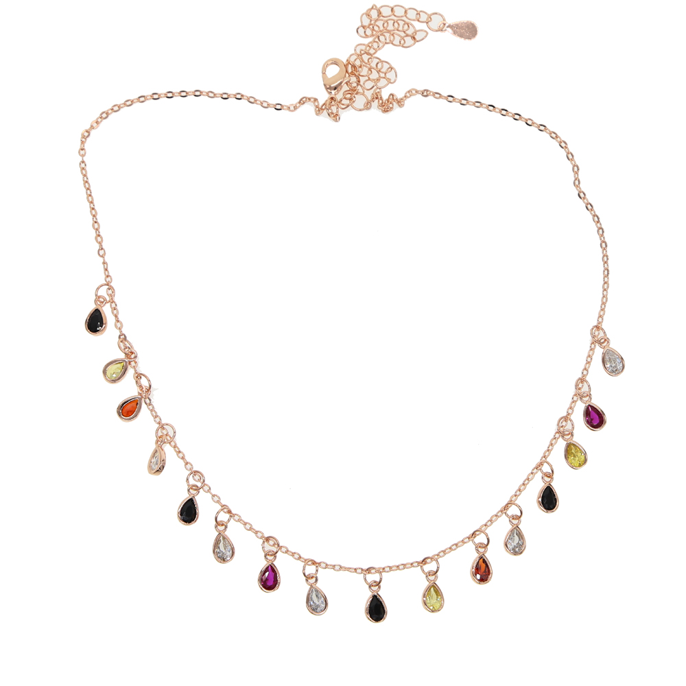 Hot Sale Beautiful Drop Colorful Cz Mulity Charm Paved Rose Gold Color Choker Necklace For Lady Girl Women Party Wedding Jewelry